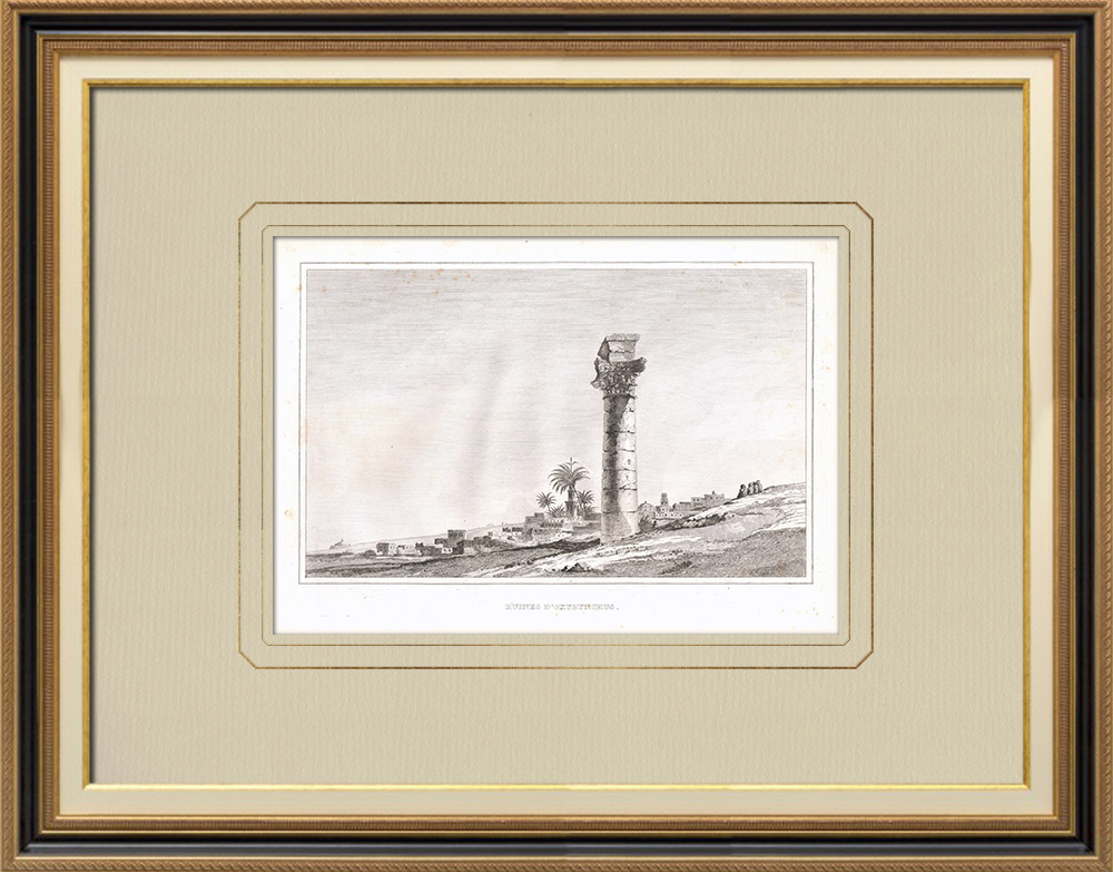 Grabados & Dibujos Antiguos | Ruinas de Oxirrinco (Egipto) | Grabado calcográfico | 1830