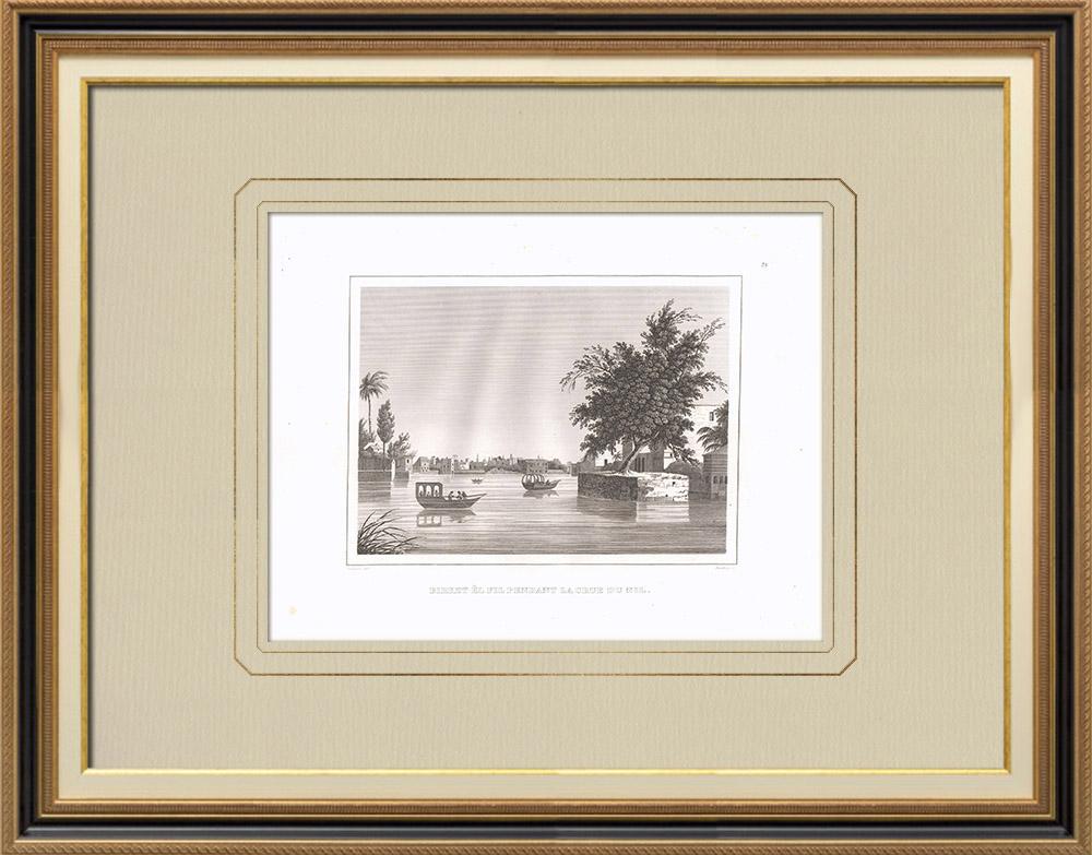 Stare Grafiki & Rysunki | Birket el fil Podczas Powodzi Nilu - Kair (Egipt) | Miedzioryt | 1830