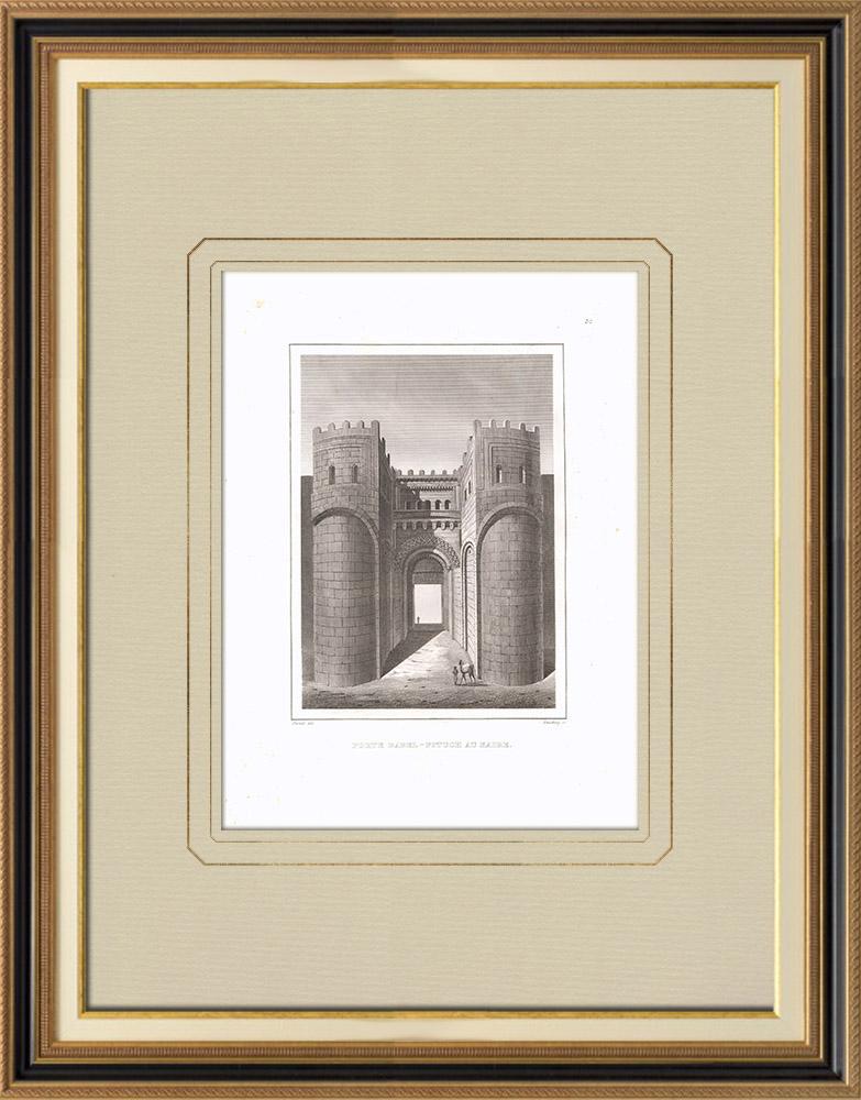 Gravures Anciennes & Dessins | Porte de Bab-el-Fotou au Caire (Egypte) | Gravure sur cuivre | 1830