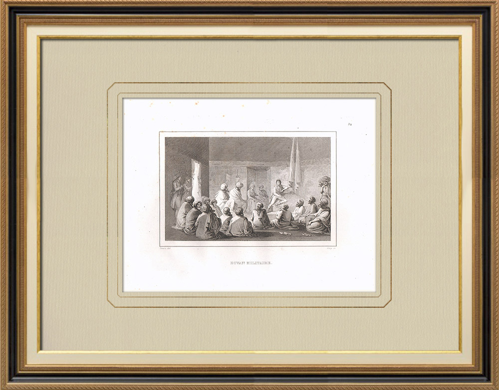 Antique Prints & Drawings | Divan of Cairo - Napoleonic Campaign in Egypt (1798) | Copper engraving | 1830