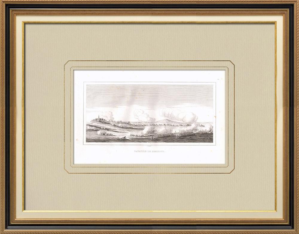 Stare Grafiki & Rysunki | Bitwa pod Semhoud - Kampania Napoleońska w Egipcie - Nilu (Egipt) | Miedzioryt | 1830