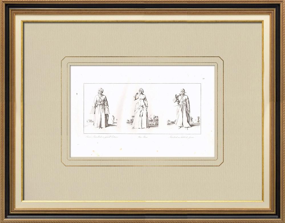 Gravures Anciennes & Dessins | Costumes Egyptiens - Mamelouk - Almée - Mamelouk en habit de guerre (Egypte) | Gravure sur cuivre | 1830