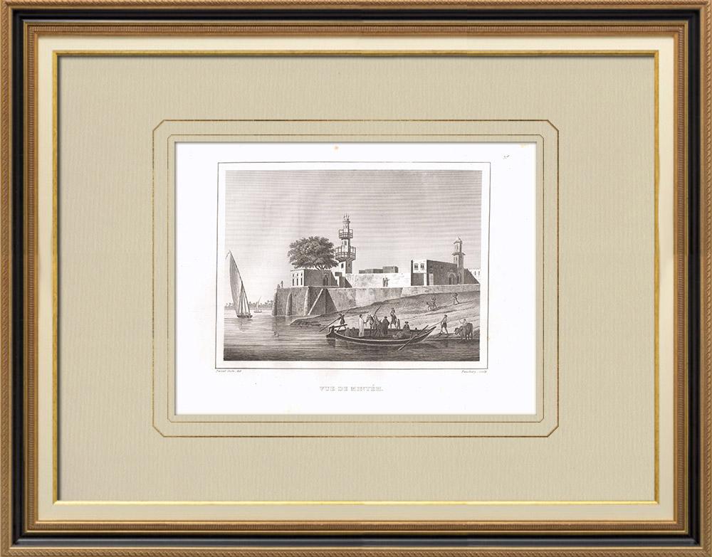 Antika Tryck & Ritningar | Vy över Minyéh - Nilen (Egypten) | Kopparstick | 1830