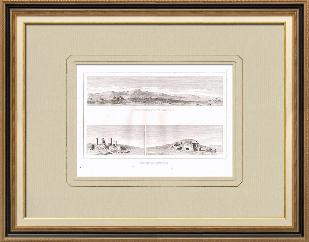 Gravuras Antigas & Desenhos | Vista de Dendera - Tentyris - Ruínas (Egito) | Gravura em buril sobre cobre | 1830