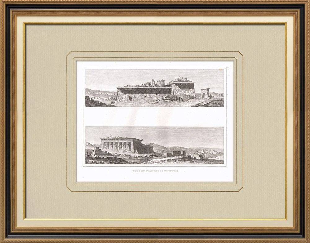 Antique Prints & Drawings | View of Dendera - Tentyris - Ruins - Temples (Egypt) | Copper engraving | 1830