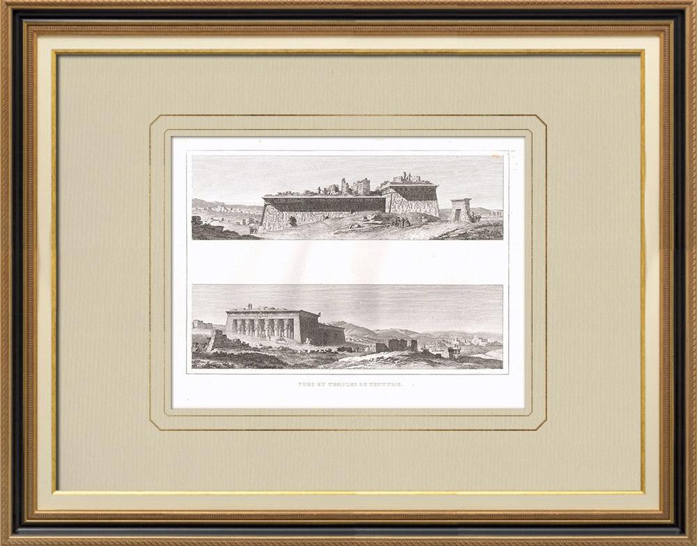 Gravures Anciennes & Dessins | Vue de Dendérah - Tentyris - Ruines - Temples (Egypte)  | Gravure sur cuivre | 1830
