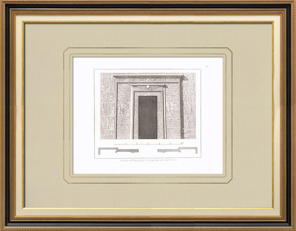 Antique Prints & Drawings | Portal of a temple in Dendera - Tentyris (Egypt) | Copper engraving | 1830