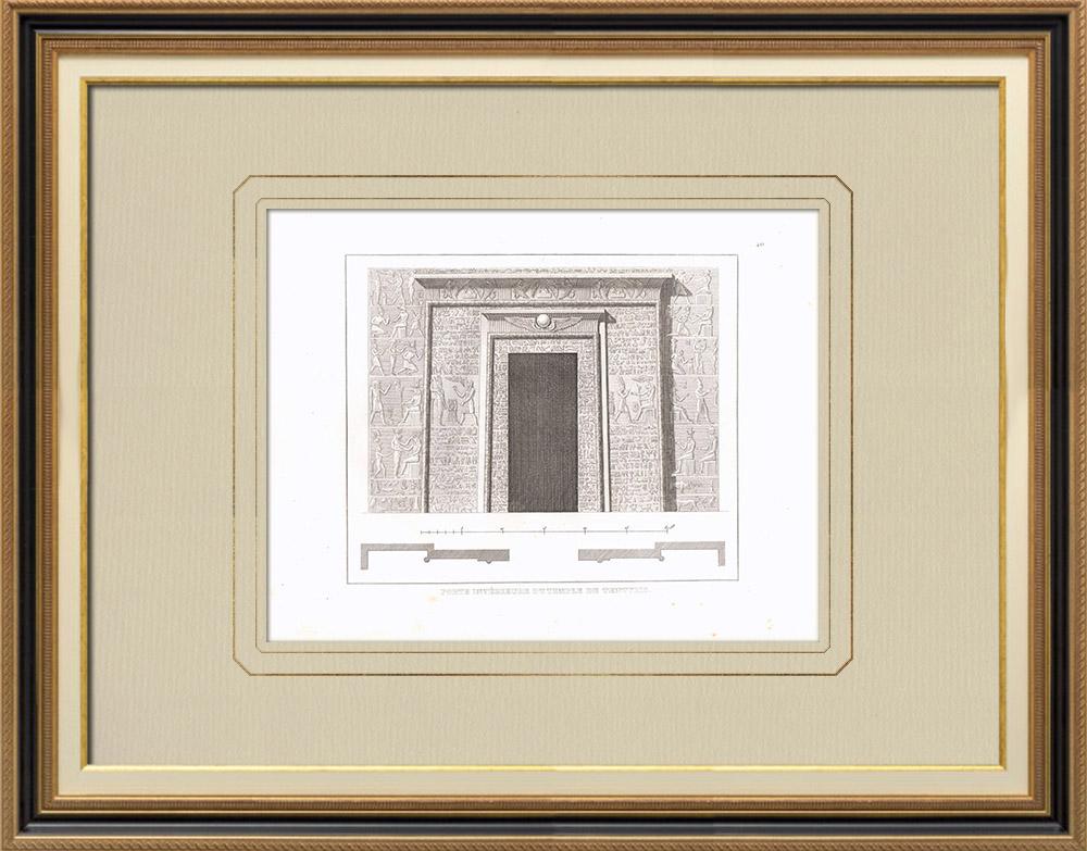 Grabados & Dibujos Antiguos | Puerta de un templo de Dendera - Tentyris (Egipto) | Grabado calcográfico | 1830