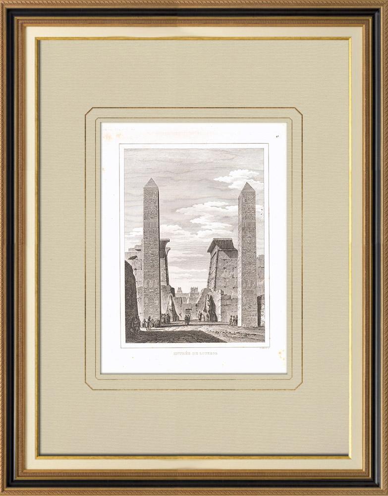 Gravures Anciennes & Dessins | Obélisques de Louxor - Louqsor (Egypte) | Gravure sur cuivre | 1830