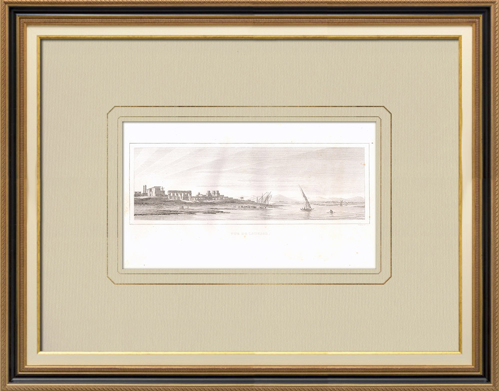 Antique Prints & Drawings | View of Luxor (Egypt) | Copper engraving | 1830