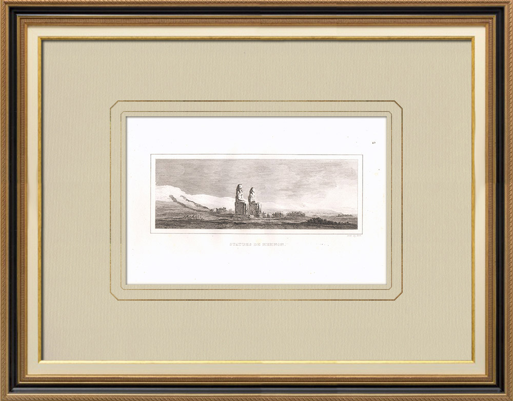 Antique Prints & Drawings | The Colossi of Memnon - Statues of Pharaoh Amenhotep III (Egypt) | Copper engraving | 1830