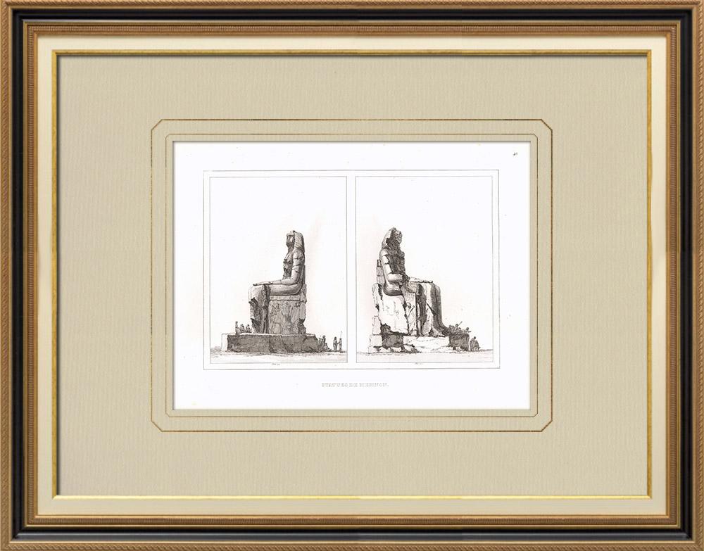 Gravuras Antigas & Desenhos | Colossos de Mêmnon em Tebas (Egito) | Gravura em buril sobre cobre | 1830