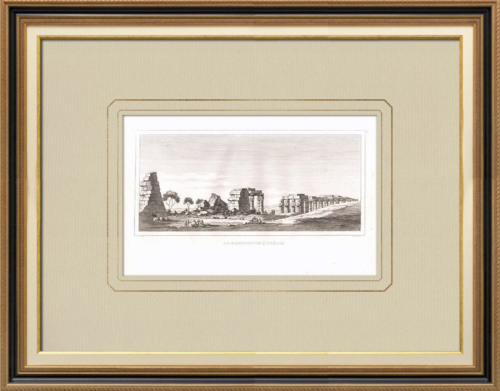 Antique Prints & Drawings | Memnonium of Thebes (Egypt) | Copper engraving | 1830