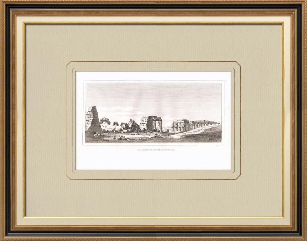 Gravuras Antigas & Desenhos | Memnonium de Tebas (Egito) | Gravura em buril sobre cobre | 1830