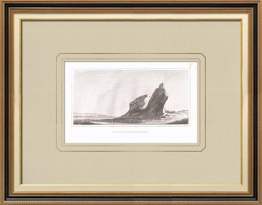Gravuras Antigas & Desenhos   Vista de Gebelein - Nilo (Egito)   Gravura em buril sobre cobre   1830