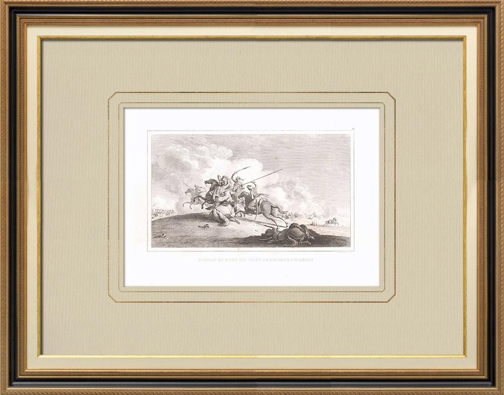 Grabados & Dibujos Antiguos | Muerte de Duplessis en la batalla de Bir el Bar (Egipto) | Grabado calcográfico | 1830