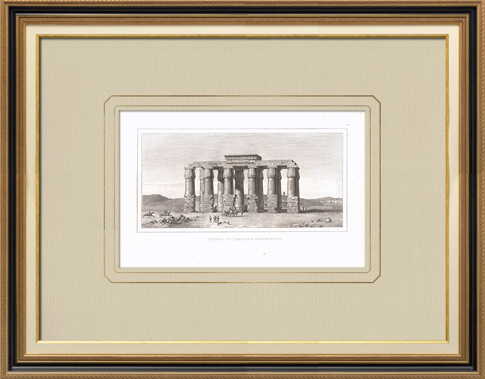 Grabados & Dibujos Antiguos | Ruinas del Templo de Hermópolis (Egipto) | Grabado calcográfico | 1830