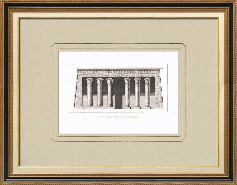 Antika Tryck & Ritningar | Portico av templet i Latopolis (Egypten) | Kopparstick | 1830