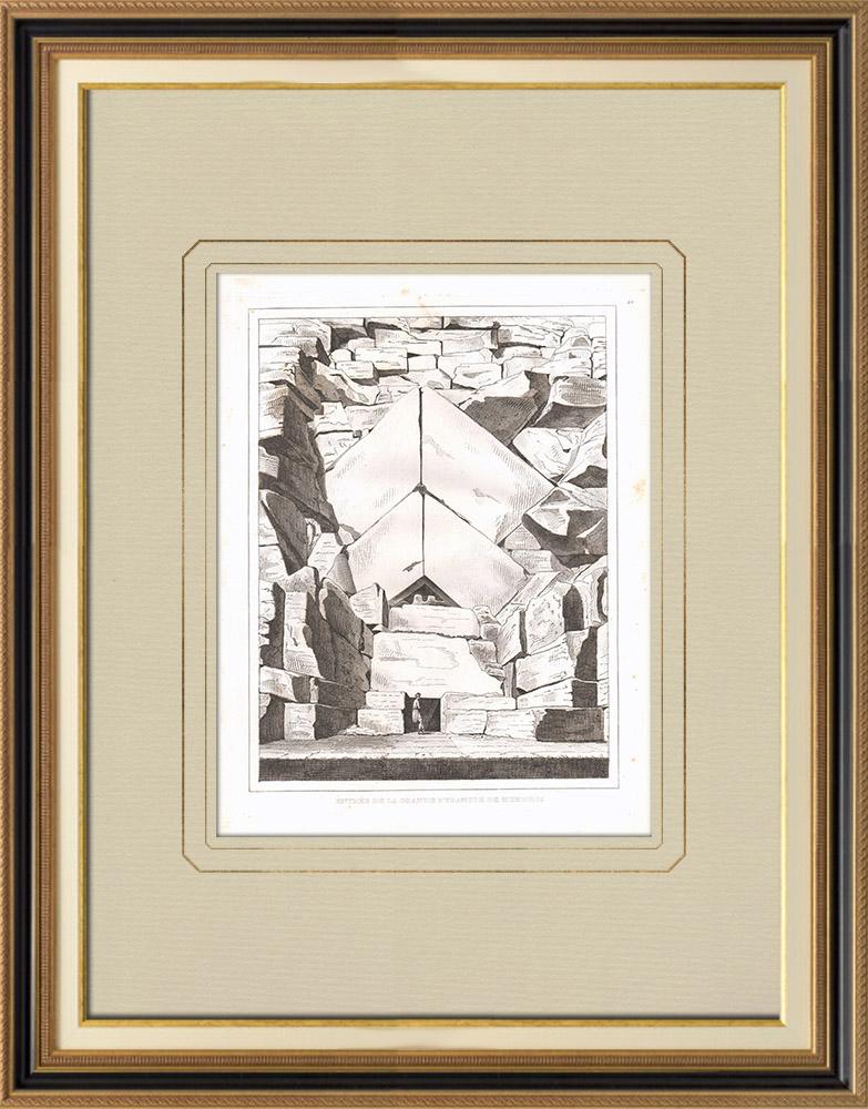 Gravures Anciennes & Dessins | Pyramide de Memphis - Gizeh - Sphinx - Nécropole (Egypte) | Gravure sur cuivre | 1830