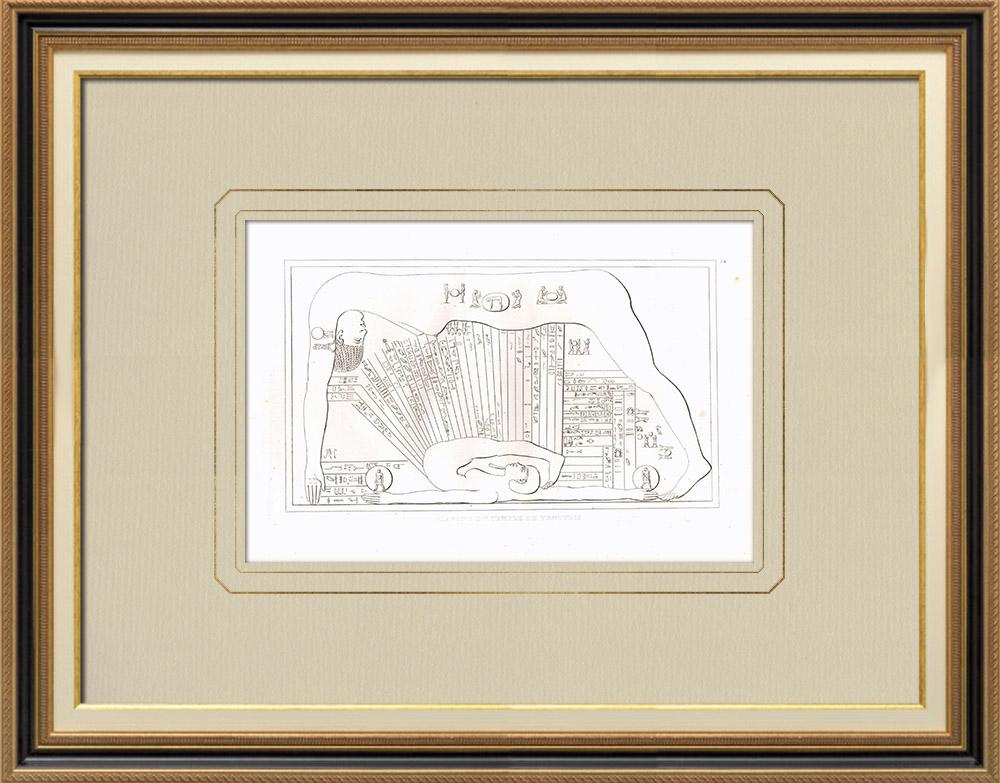 Grabados & Dibujos Antiguos | Techo del templo de Tentyris - Dendérah (Egipto) | Grabado calcográfico | 1830