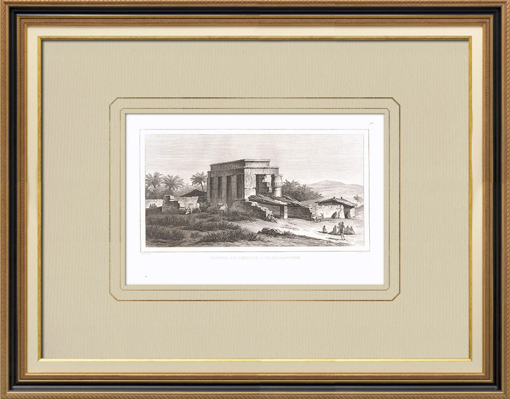 Antique Prints & Drawings | Ruins of the Elephantine temple - Nile (Egypt) | Copper engraving | 1830