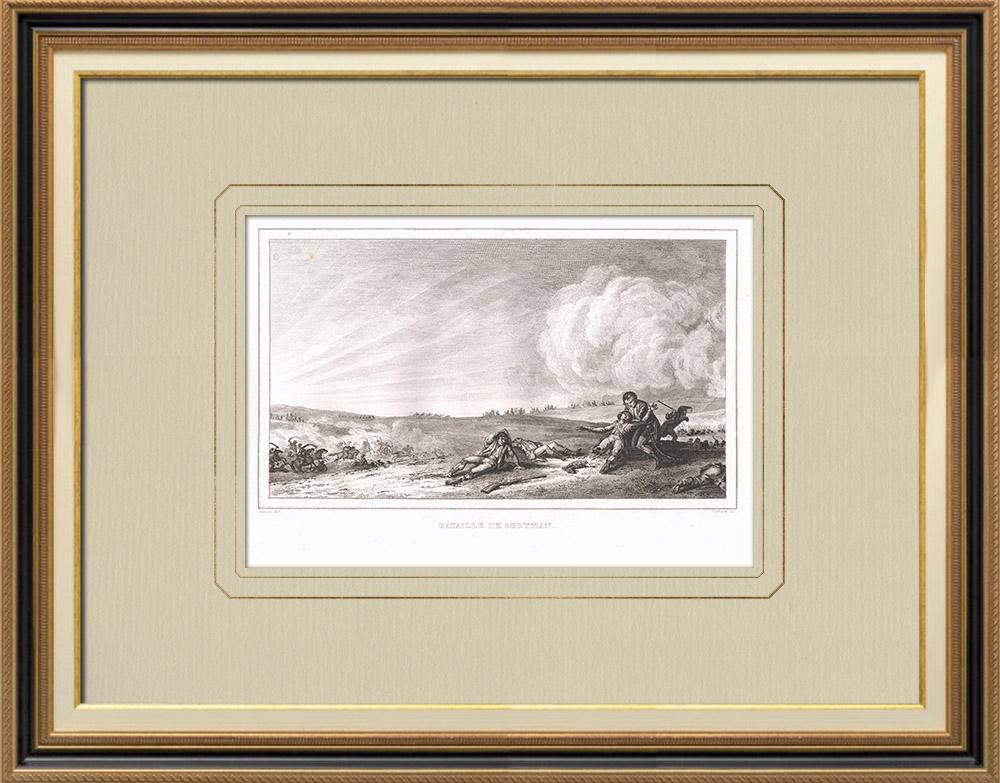 Gravures Anciennes & Dessins | Bataille de Sédiman - Général Desaix - Mamelouks (Egypte) | Gravure sur cuivre | 1830