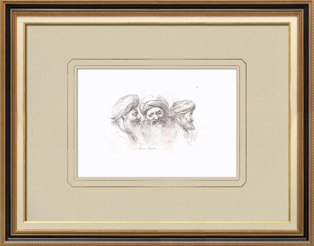 Gravures Anciennes & Dessins | Têtes de moines Coptes - Malem Jacob (Egypte) | Gravure sur cuivre | 1830