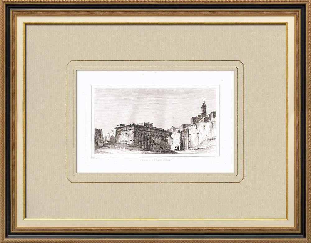 Stare Grafiki & Rysunki | świątynia Latopolis (Egipt) | Miedzioryt | 1830