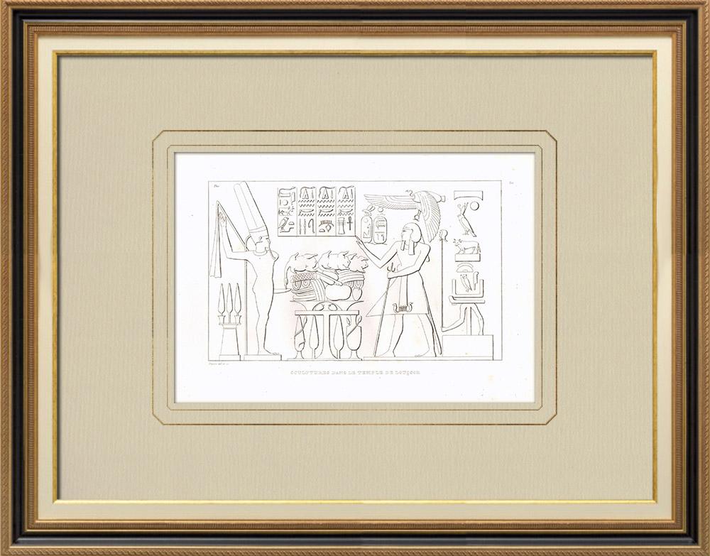 Antique Print & Etching | Skulpturen im Luxor-Tempel (Ägypten) | Kupferstich | 1830