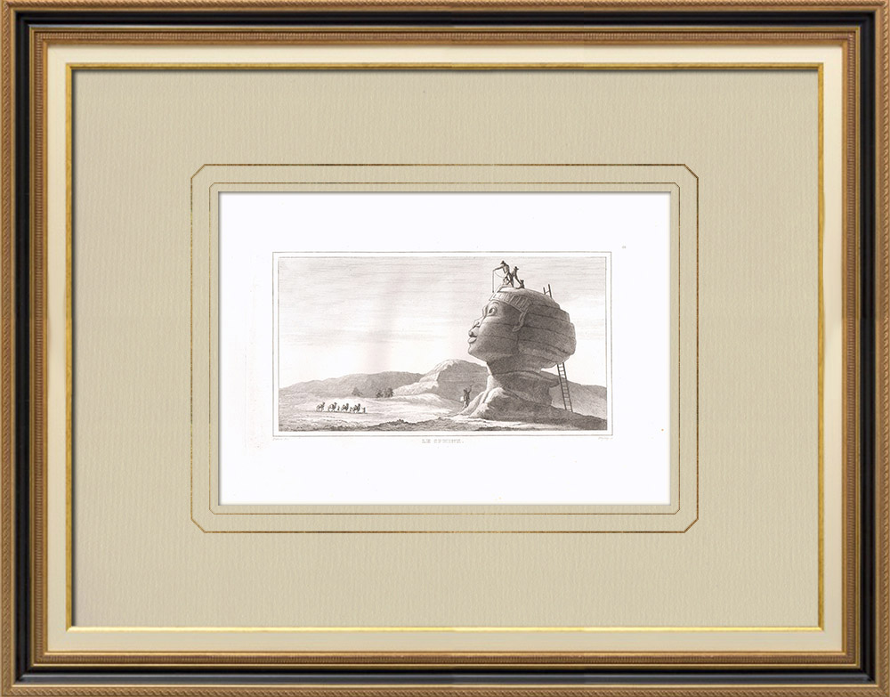 Antique Prints & Drawings | Great Sphinx of Giza - Great Pyramid of Giza - Pyramid of Cheops (Egypt) | Copper engraving | 1830