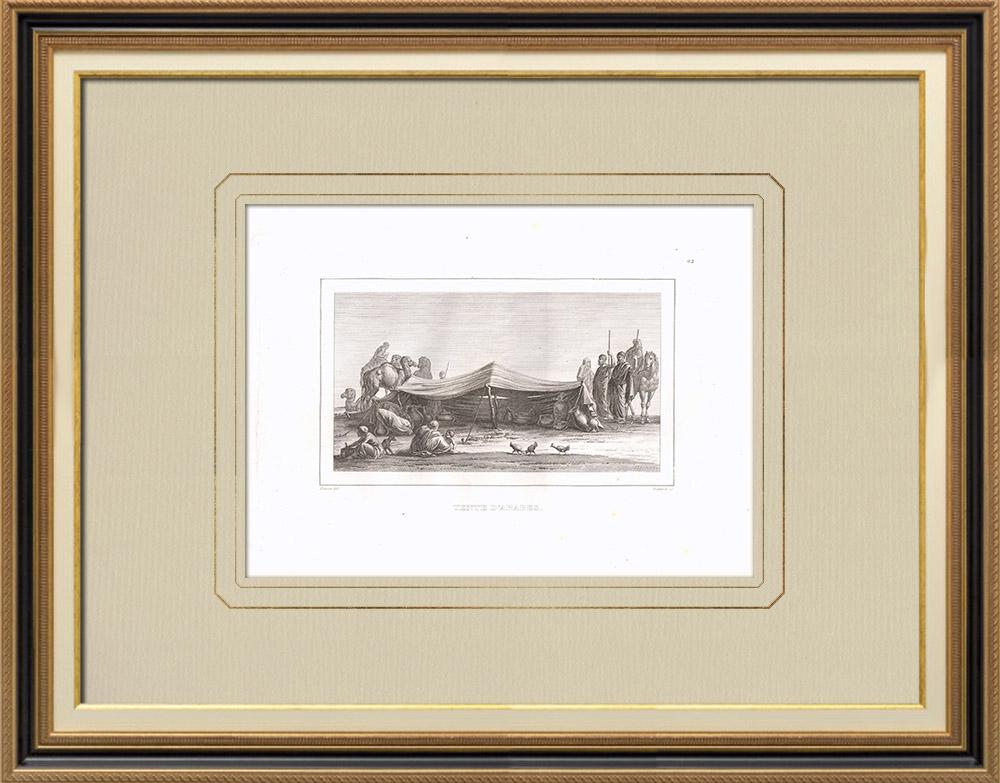 Oude Prenten & Tekeningen | Bedoeïenen Arabieren Onder een Tent (Egypte) | Kopergravure | 1830