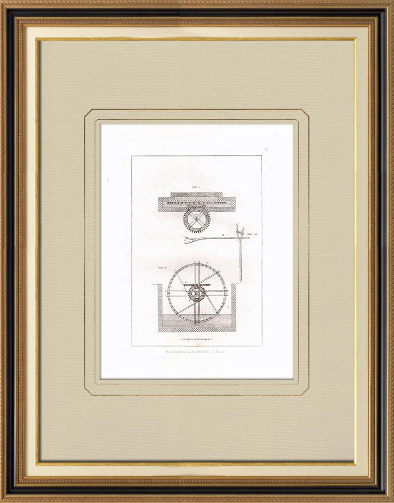 Grabados & Dibujos Antiguos | Plano de un áquina de riego - Sakia (Egipto) | Grabado calcográfico | 1830
