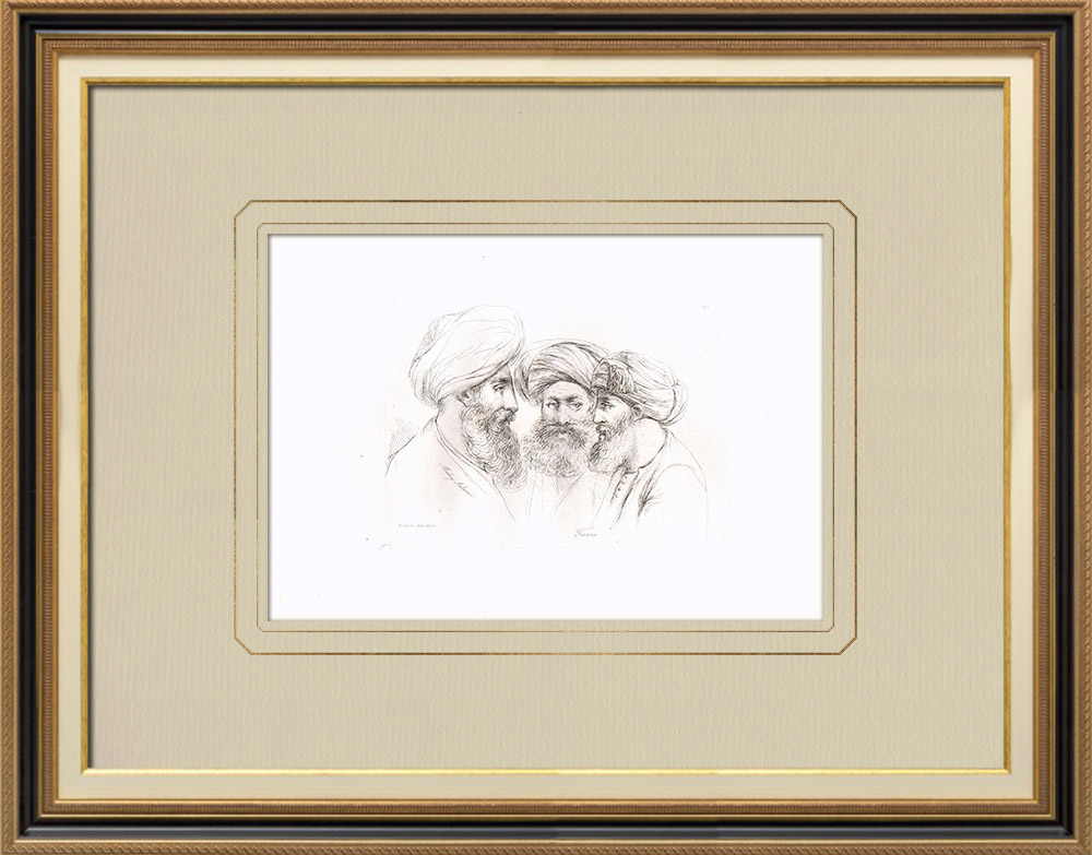 Antika Tryck & Ritningar | Huvud för Muley Salameh, bror till kungen av Marocko - Porträtt av Turkar | Kopparstick | 1830