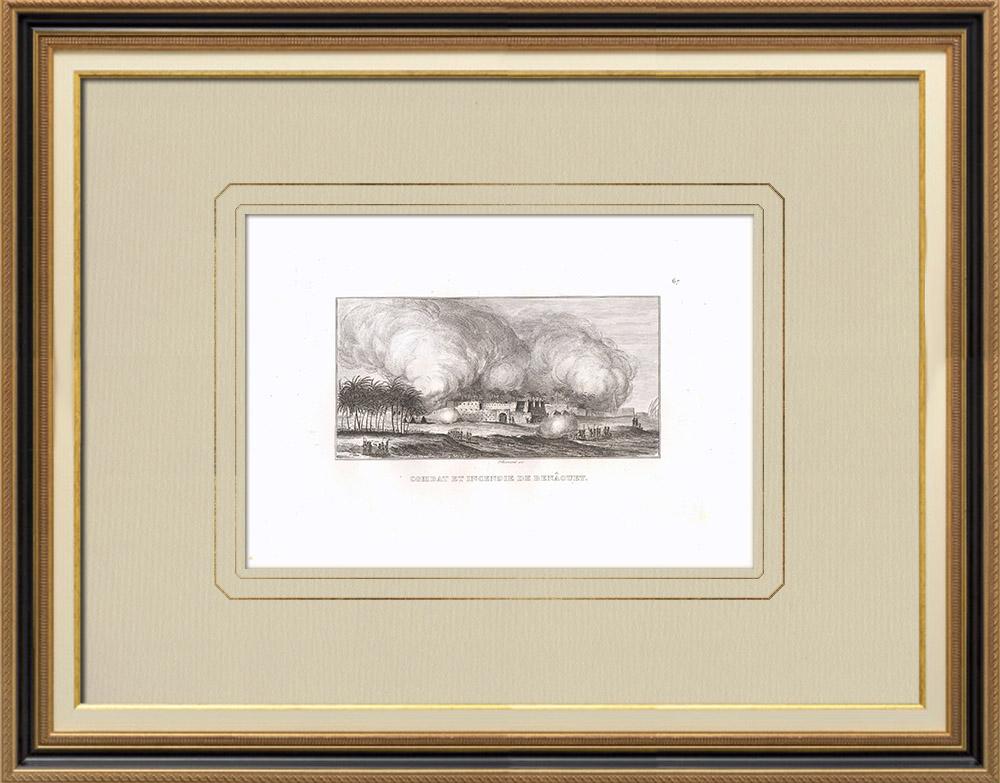 Antique Print & Etching | Kämpf und Brand im Benaouet (Ägypten) | Kupferstich | 1830
