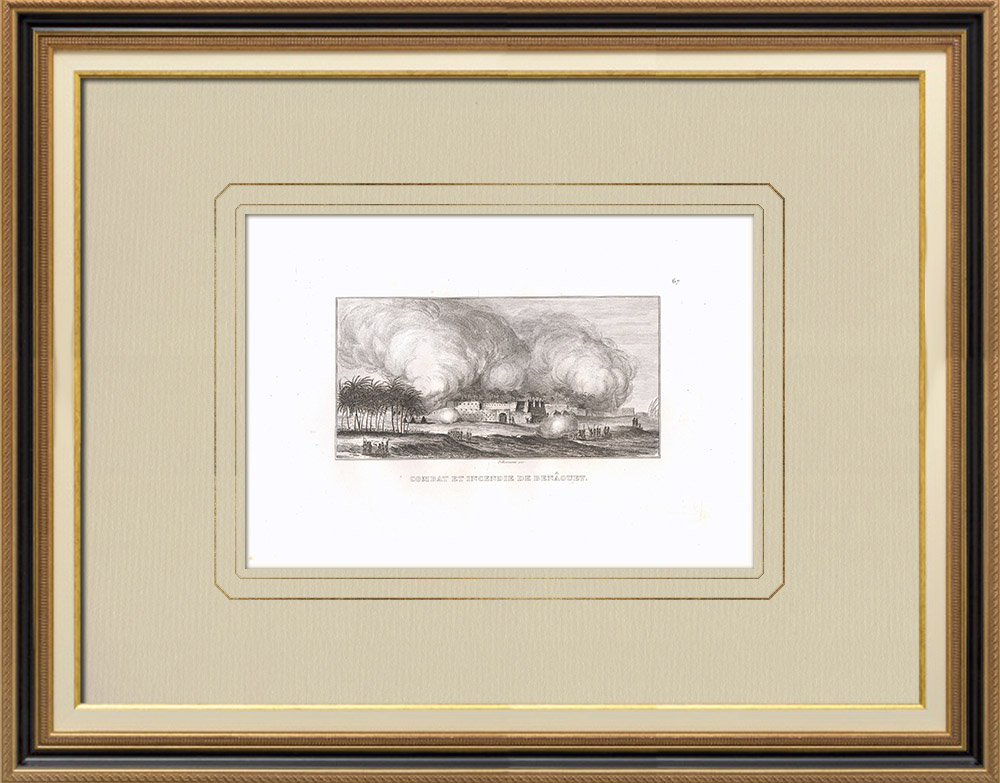 Antika Tryck & Ritningar | Kamp och brand i Benaouet (Egypten) | Kopparstick | 1830