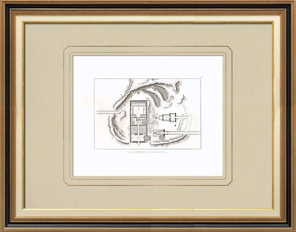 Grabados & Dibujos Antiguos | Plano del Templo de Karnak - El Gran Templo de Amón (Egipto) | Grabado calcográfico | 1830