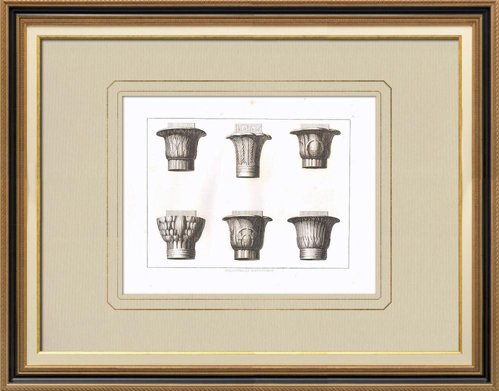 Oude Prenten & Tekeningen | Egyptische Hoofdsteden - Architectuur (Egypte) | Kopergravure | 1830