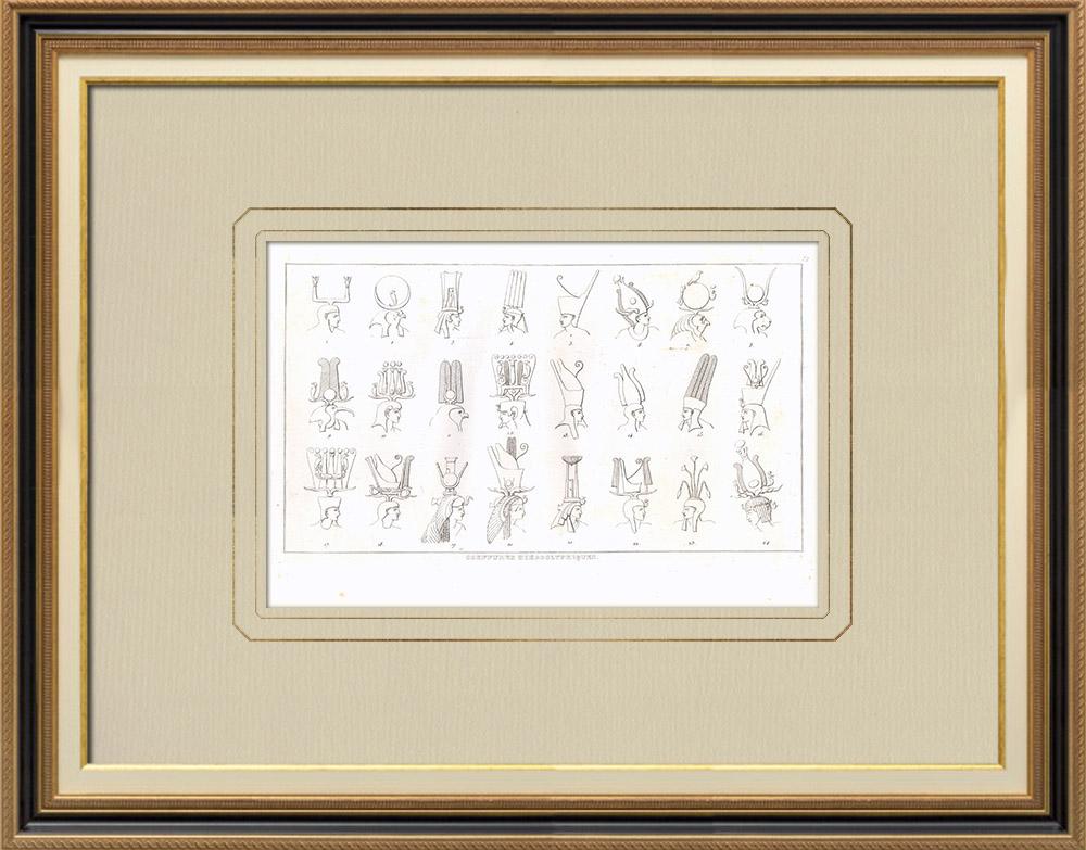 Gravuras Antigas & Desenhos | Hieróglifos - Toucados para deidades - Pschent (Egito) | Gravura em buril sobre cobre | 1830