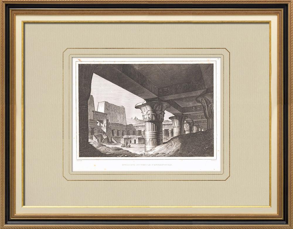 Antique Prints & Drawings | Edfu Temple - Temple of Horus - Apollinopolis Magna (Egypt) | Copper engraving | 1830