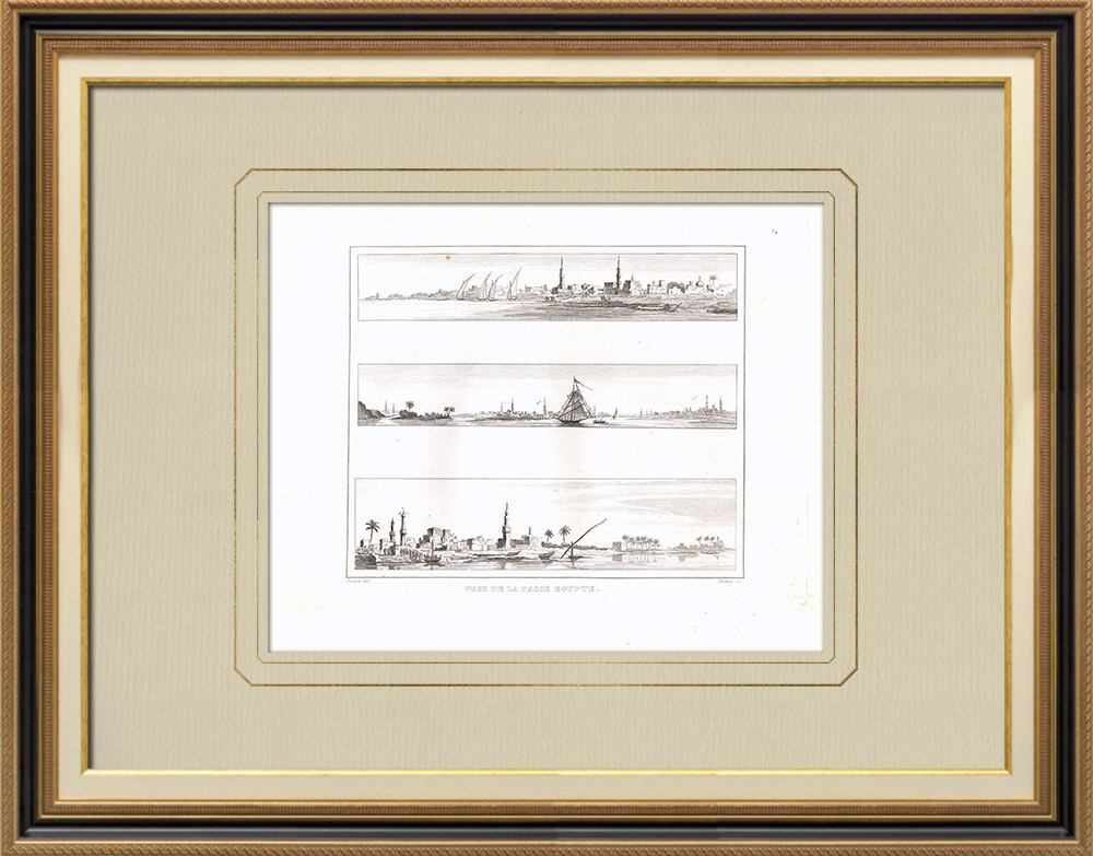 Antique Prints & Drawings | Views of Lower Egypt - Atfeyneh - Métoubis - Nile (Egypt) | Copper engraving | 1830