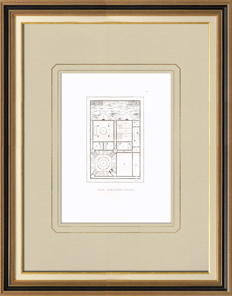 Antique Prints & Drawings | Plan of hot baths in Egypt | Copper engraving | 1830