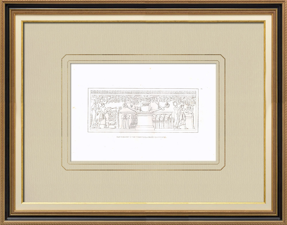Antique Prints & Drawings | Low-relief of an Elephantine temple - Nile (Egypt) | Copper engraving | 1830
