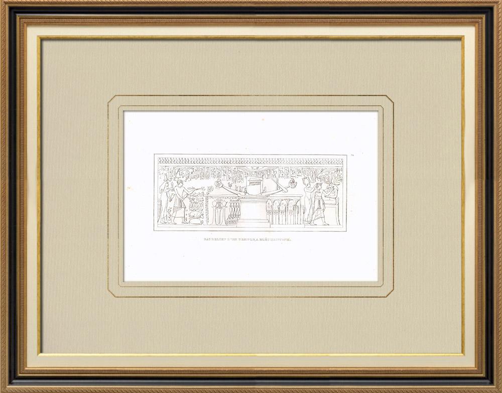 Oude Prenten & Tekeningen | Bas-reliëf van een Olifantentempel - Nijl (Egypte) | Kopergravure | 1830