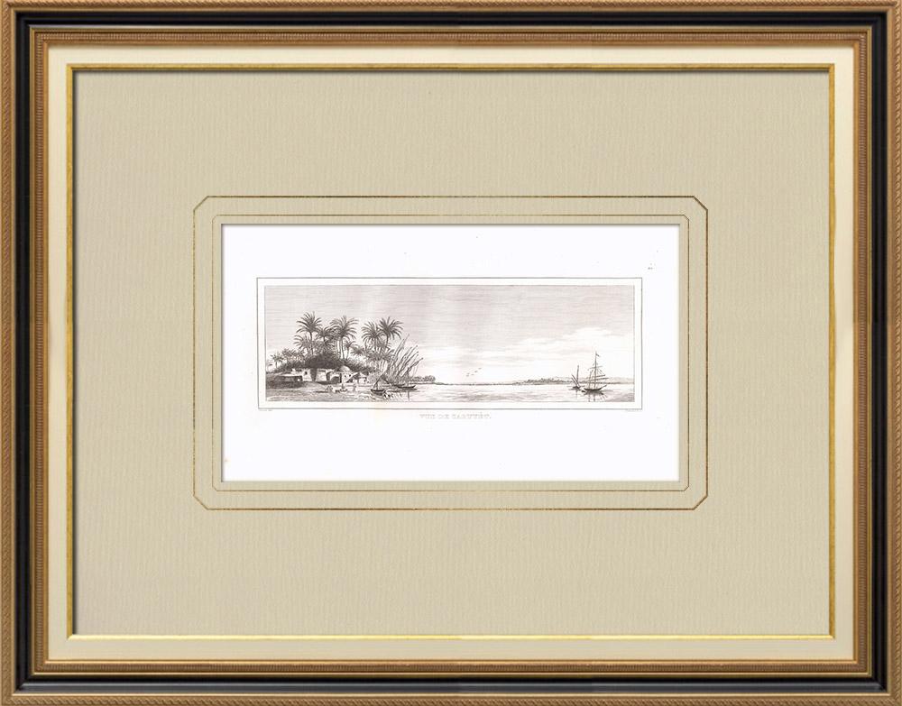 Gravures Anciennes & Dessins | Vue de Zaouyét - Haute-Égypte - Nil (Egypte) | Gravure sur cuivre | 1830