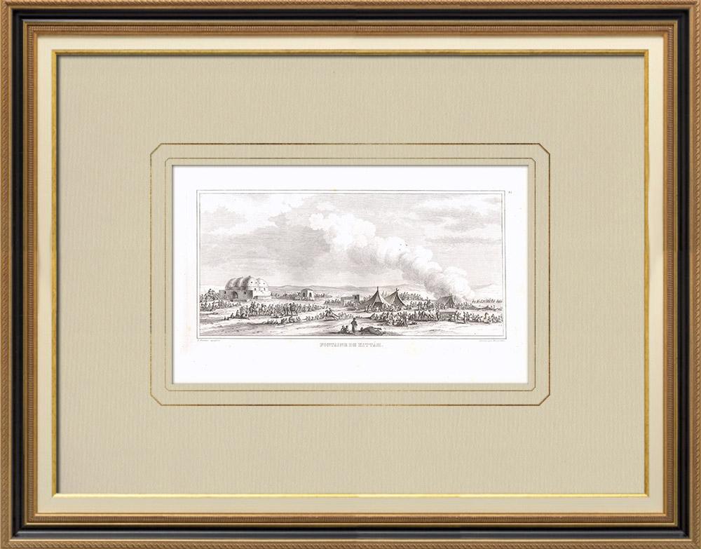 Grabados & Dibujos Antiguos | Fuente de Kittah - Laguittah (Egipto) | Grabado calcográfico | 1830