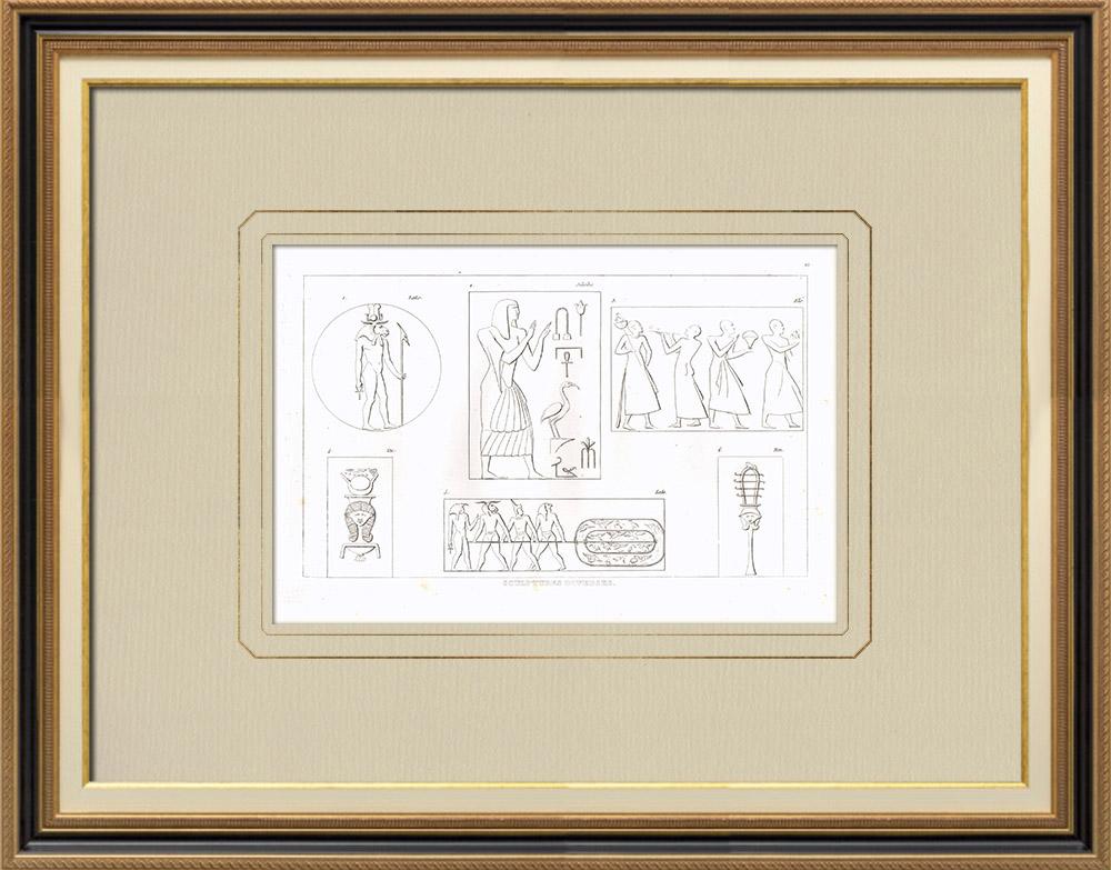Antika Tryck & Ritningar | Egyptiska skulpturer (Egypten) | Kopparstick | 1830