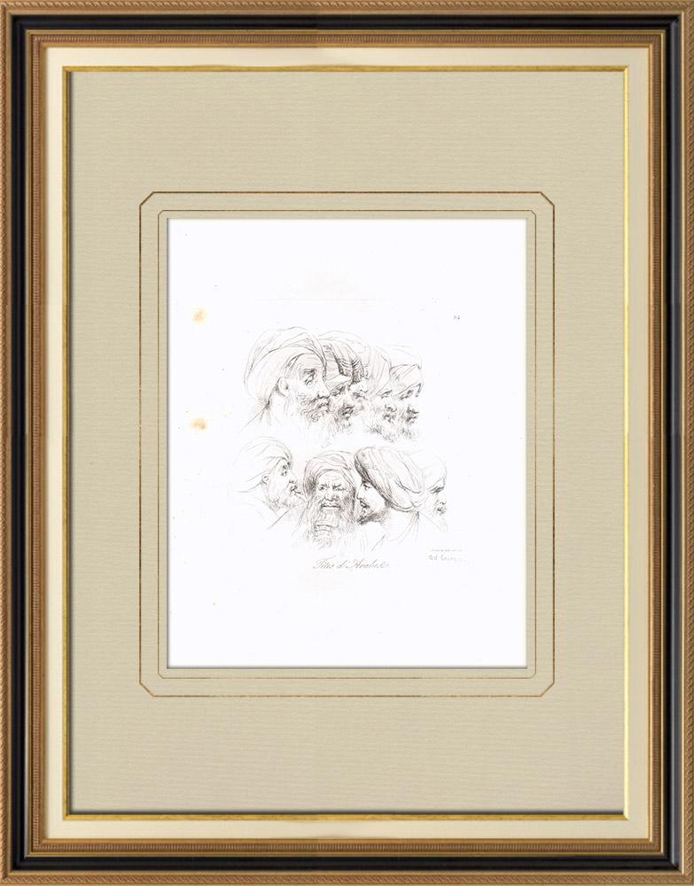Grabados & Dibujos Antiguos | Cabezas de Árabes (Egipto) | Grabado calcográfico | 1830