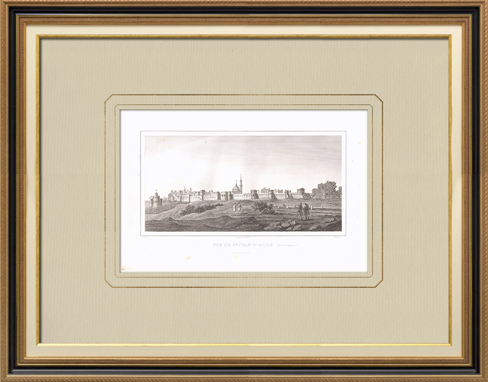 Antique Prints & Drawings | View of Acre (Israel) | Copper engraving | 1830