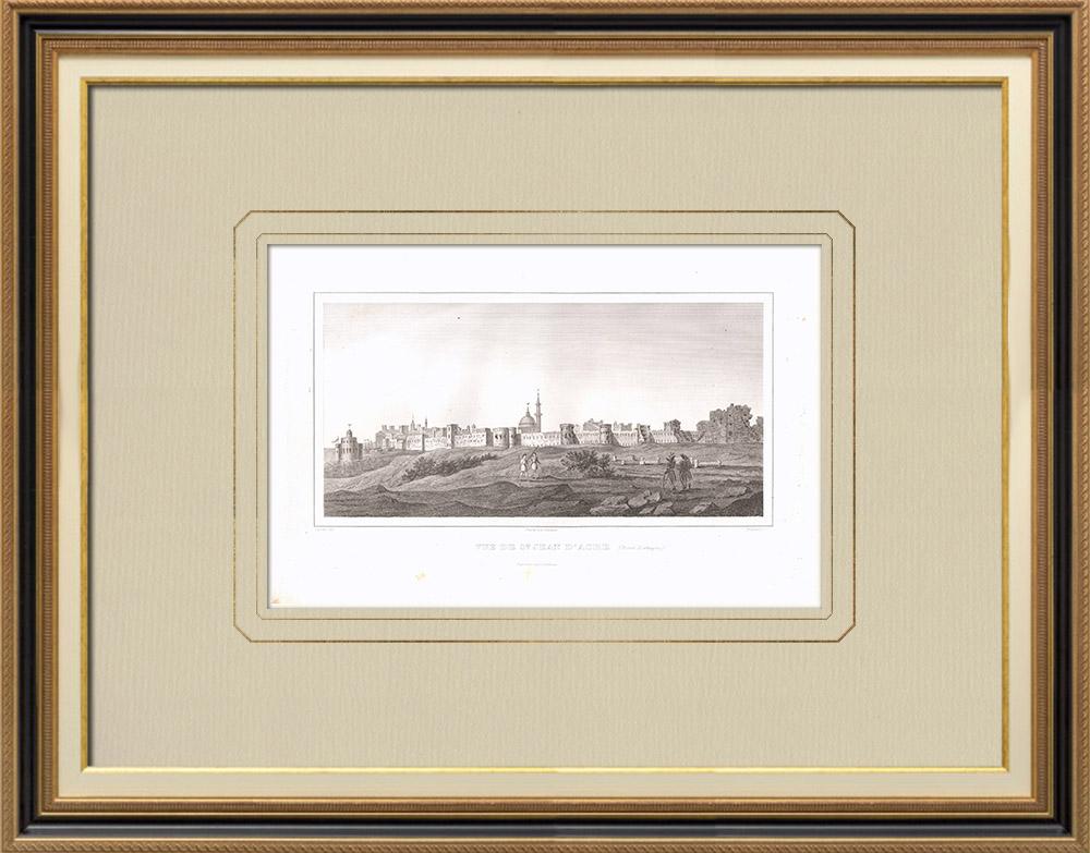 Antique Print & Etching | Ansicht von Akkon (Israel) | Kupferstich | 1830