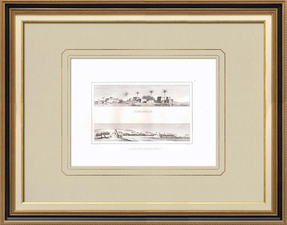 Grabados & Dibujos Antiguos | Vista de Dimichly - Vivienda de Mourad-Bey en Giza (Egipto) | Grabado calcográfico | 1830